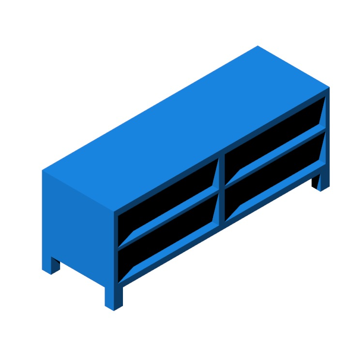 Perspective view of a 3D model of the IKEA Bestå TV Unit - 2 Bay - Tall (Shelves)