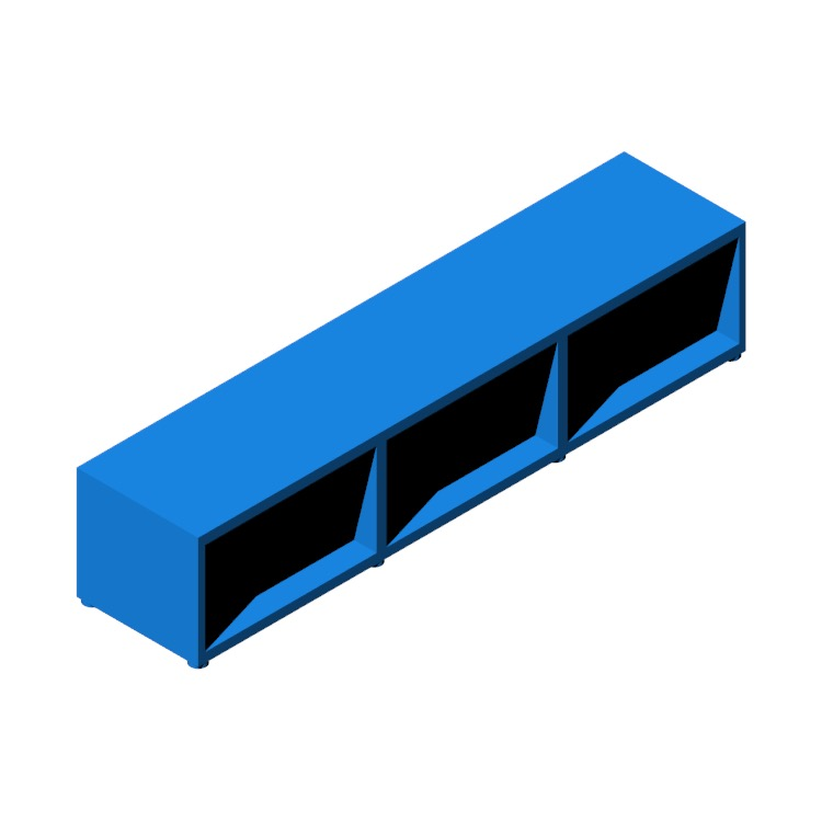 3D model of the IKEA Bestå TV Unit - 3 Bay - Low viewed in perspective