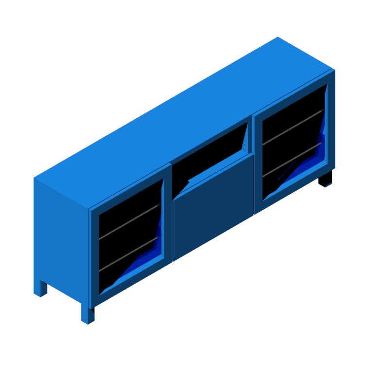 Perspective view of a 3D model of the IKEA Bestå TV Unit - 3 Bay - Tall (Doors & Shelves)