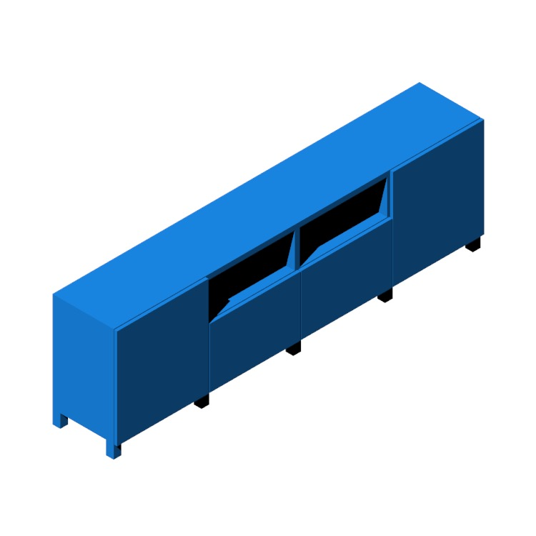 3D model of the IKEA Bestå TV Unit - 4 Bay - Tall viewed in perspective