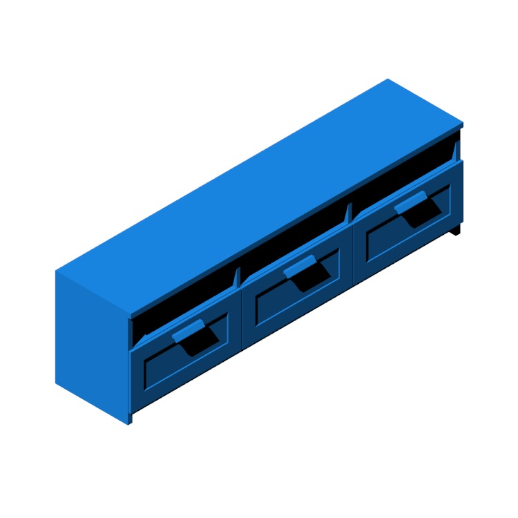 Perspective view of a 3D model of the IKEA Brimnes TV Unit - 3 Bay