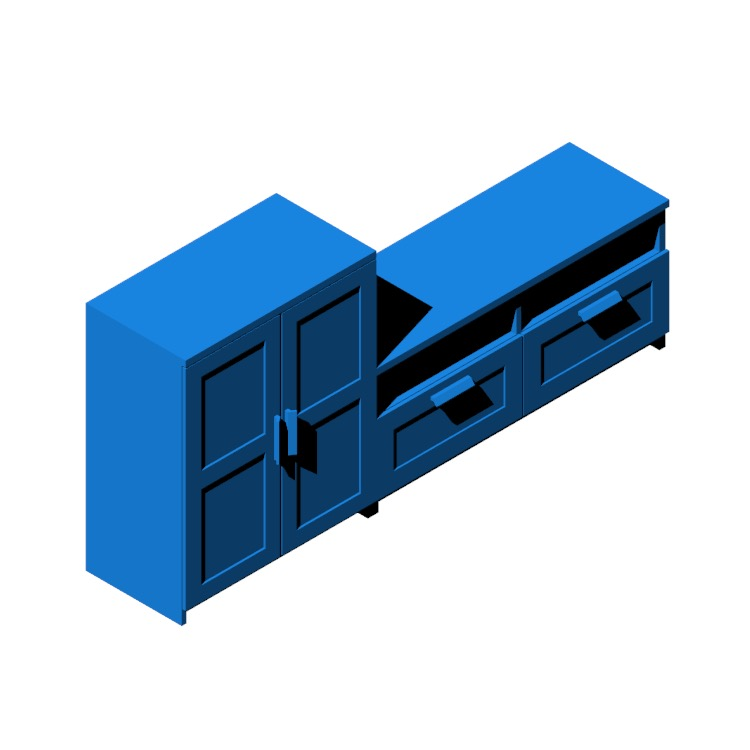 Perspective view of a 3D model of the IKEA Brimnes TV Storage Combination - 2 Bay - L Shape