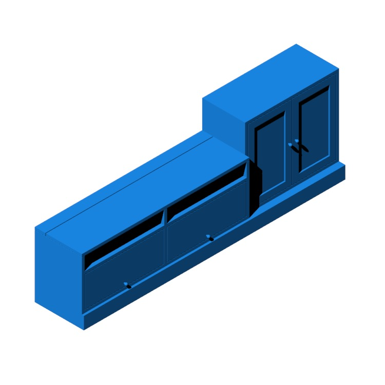 Perspective view of a 3D model of the IKEA Havsta TV Storage Unit Combination