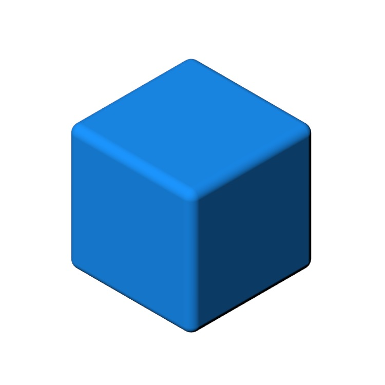 3D model of the Cube Pouf viewed in perspective