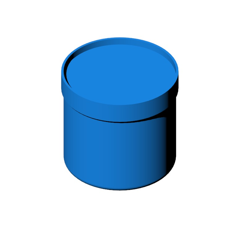 Perspective view of a 3D model of the Drum Pouf - High