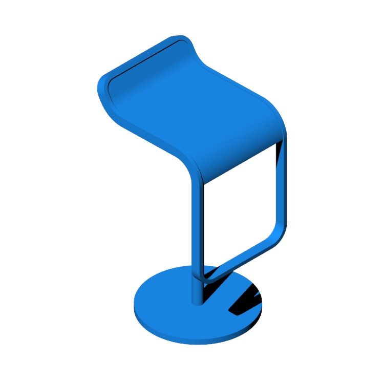 3D model of the LEM Piston Stool viewed in perspective