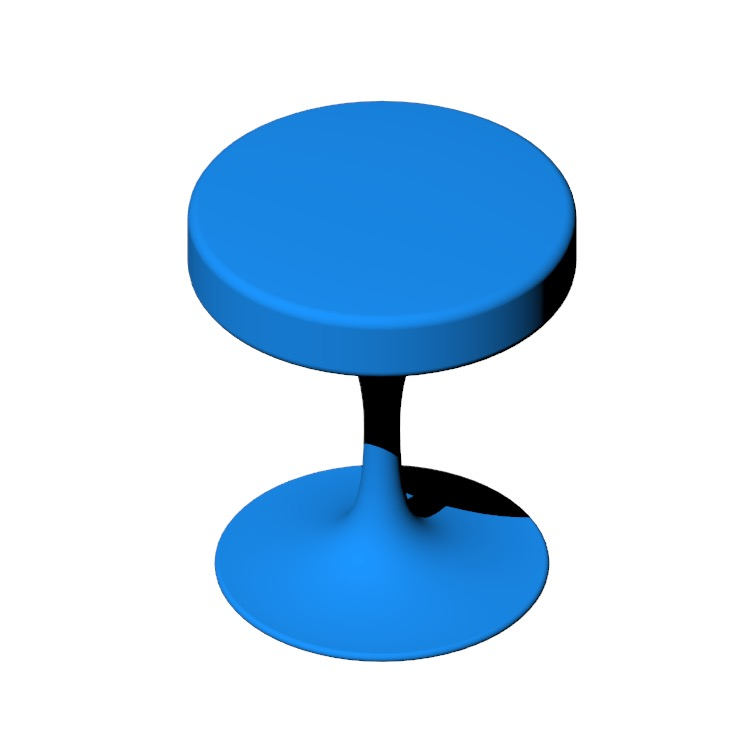 Perspective view of a 3D model of the Saarinen Tulip Stool