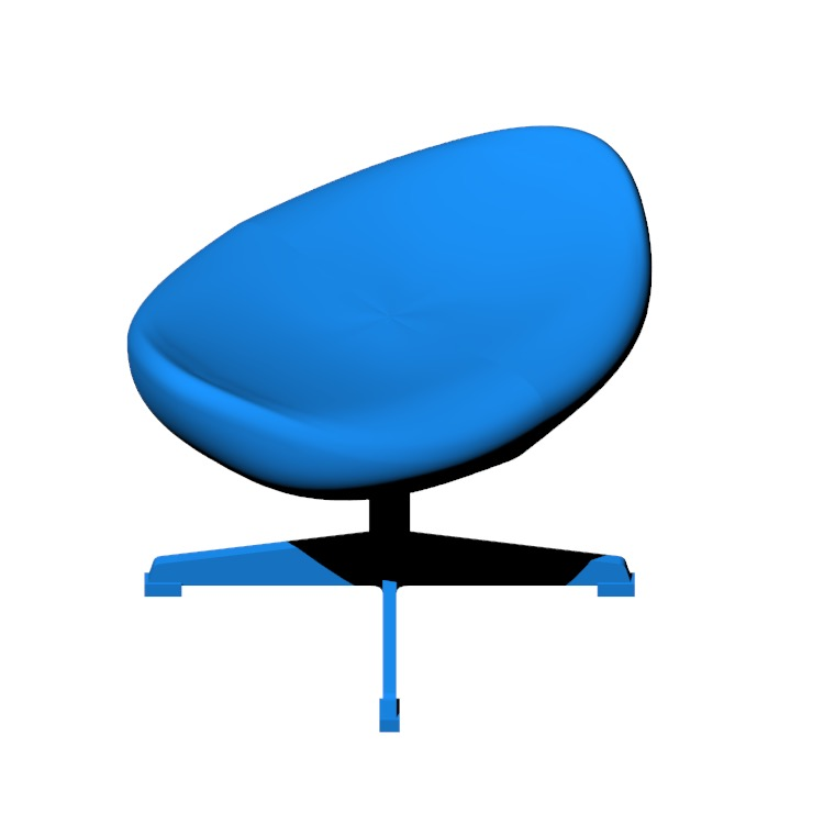 Perspective view of a 3D model of the Egg Footstool