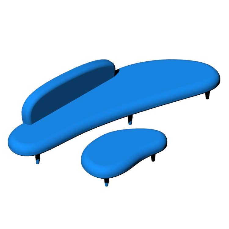 View of the Noguchi Freeform Sofa in 3D available for download