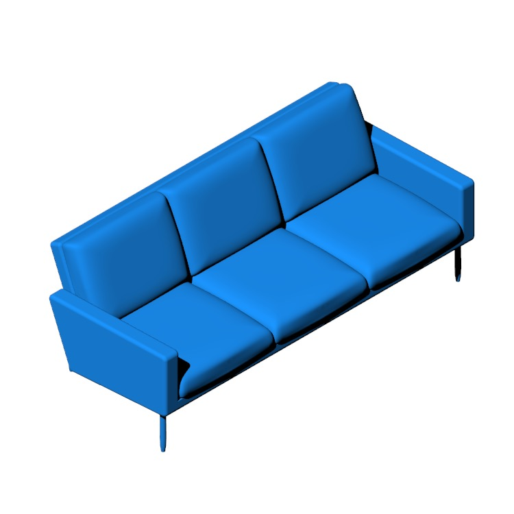 3D model of the Raleigh Sofa viewed in perspective