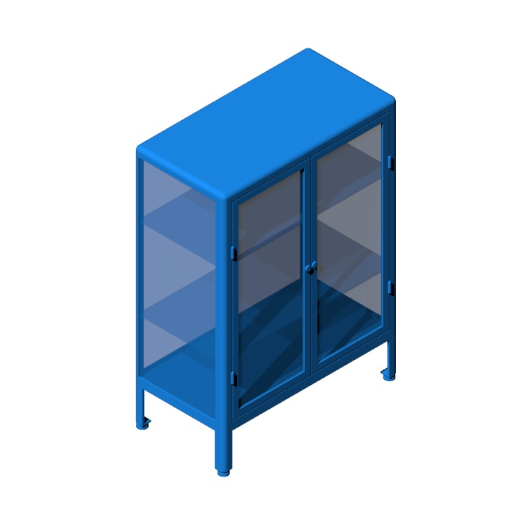 View of the IKEA Fabrikör Glass Door Cabinet - Wide in 3D available for download