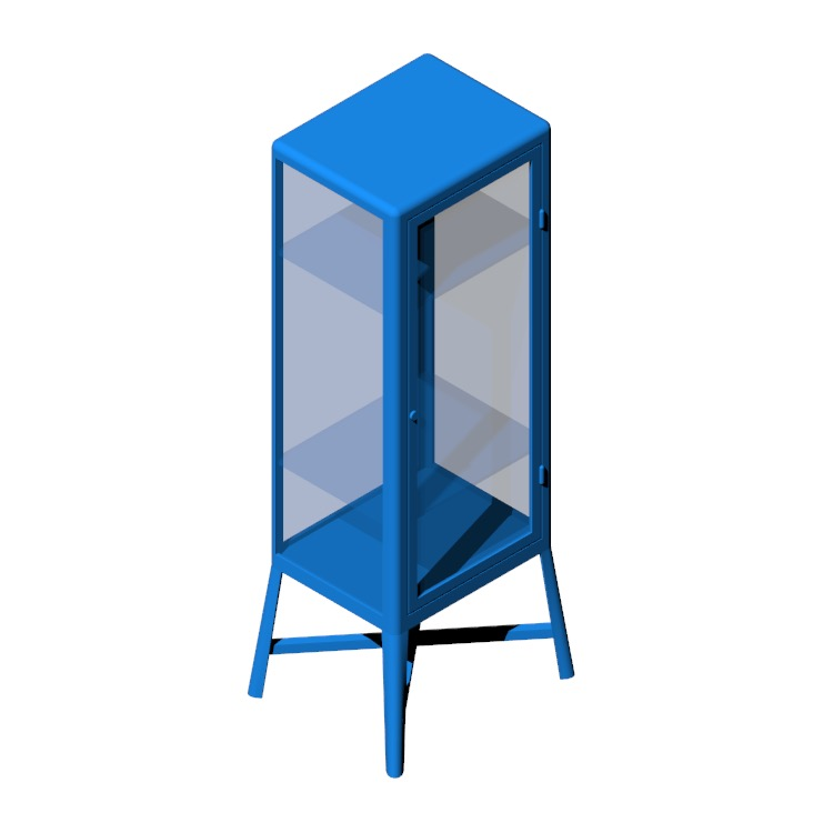 Perspective view of a 3D model of the IKEA Fabrikör Glass Door Cabinet - Tall