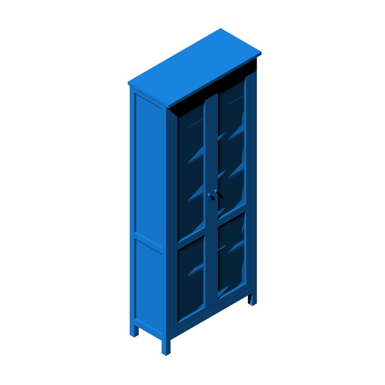 View of the IKEA Hemnes Glass Door Cabinet in 3D available for download