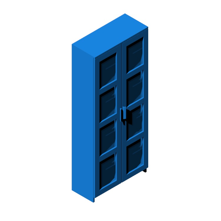 Perspective view of a 3D model of the IKEA Brimnes Glass Door Cabinet - Tall