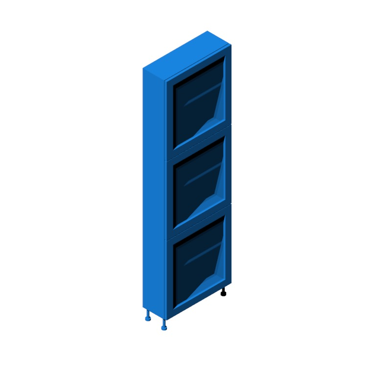 Perspective view of a 3D model of the IKEA Bestå Storage Combination - Tall (3 Door, Glass)