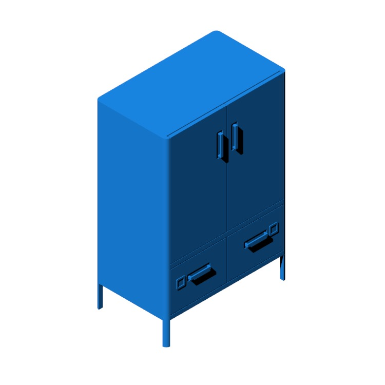 3D model of the IKEA Idåsen Cabinet viewed in perspective