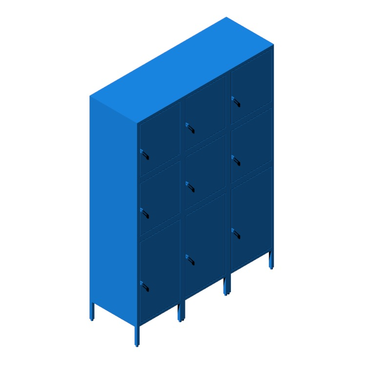 3D model of the IKEA Hällan Storage Combination - Tall (3-Wide) viewed in perspective