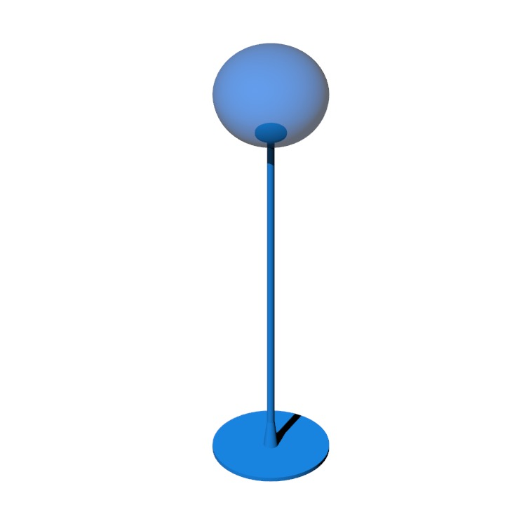 Perspective view of a 3D model of the Glo-Ball F1, F2, F3 Floor Lamps