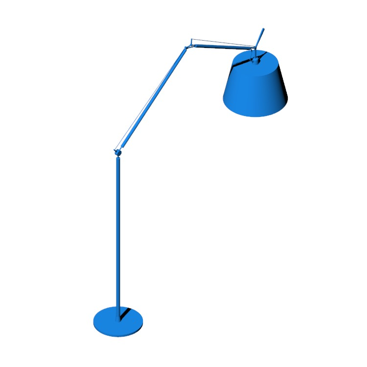 Perspective view of a 3D model of the Tolomeo Mega Floor Lamp