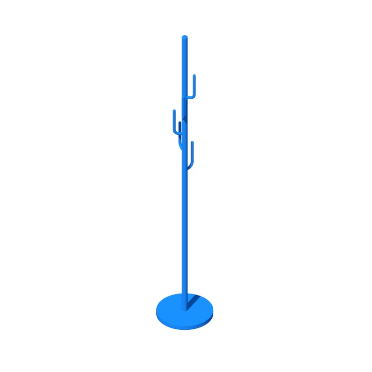 Perspective view of a 3D model of the Edmiston Cactus Coat Rack