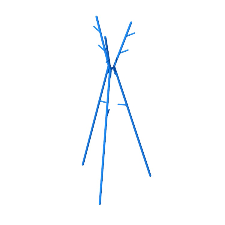 Perspective view of a 3D model of the IKEA Ekrar Hat & Coat Stand