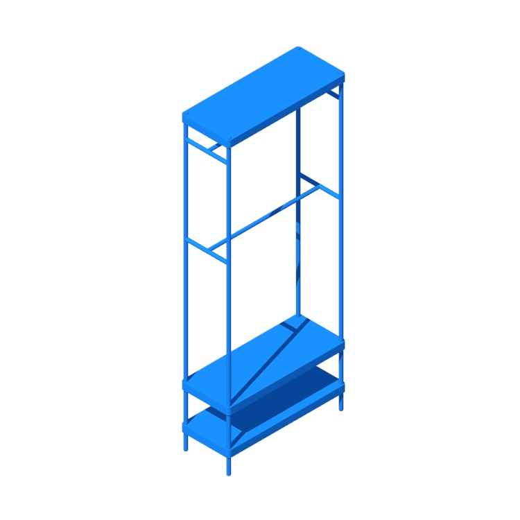 Perspective view of a 3D model of the IKEA Mackapär Coat Rack Shoe Storage Unit