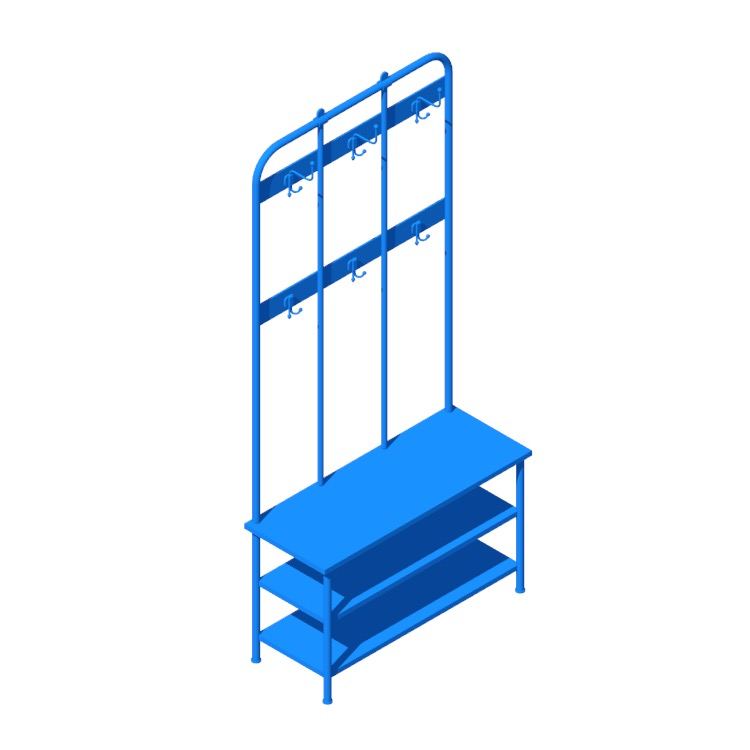 3D model of the IKEA Pinnig Coat Rack Storage Bench viewed in perspective