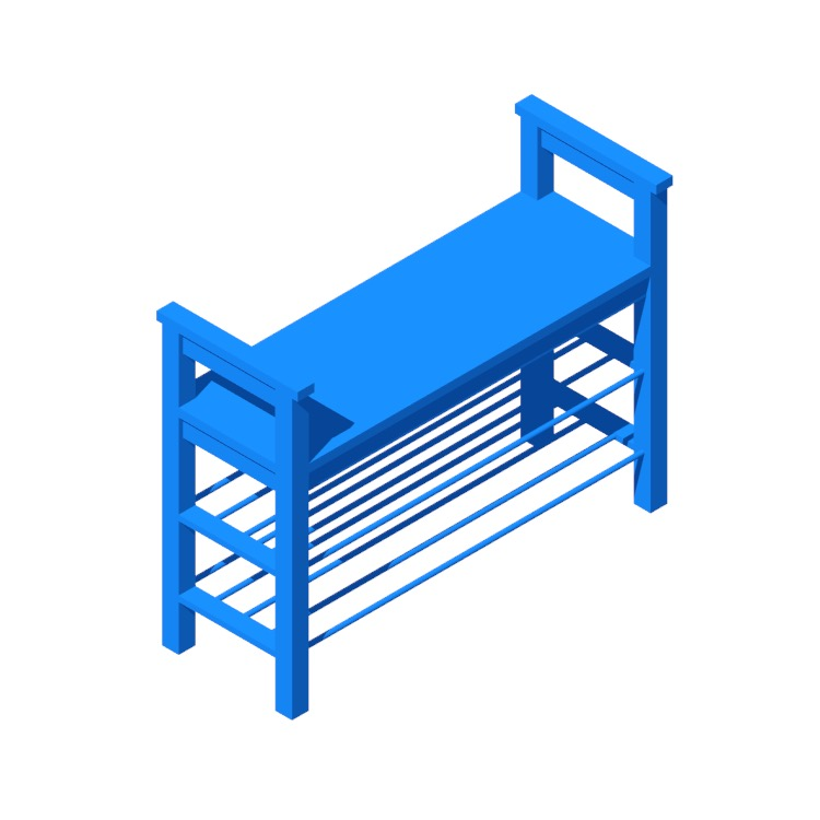 3D model of the IKEA Hemnes Shoe Storage Bench viewed in perspective
