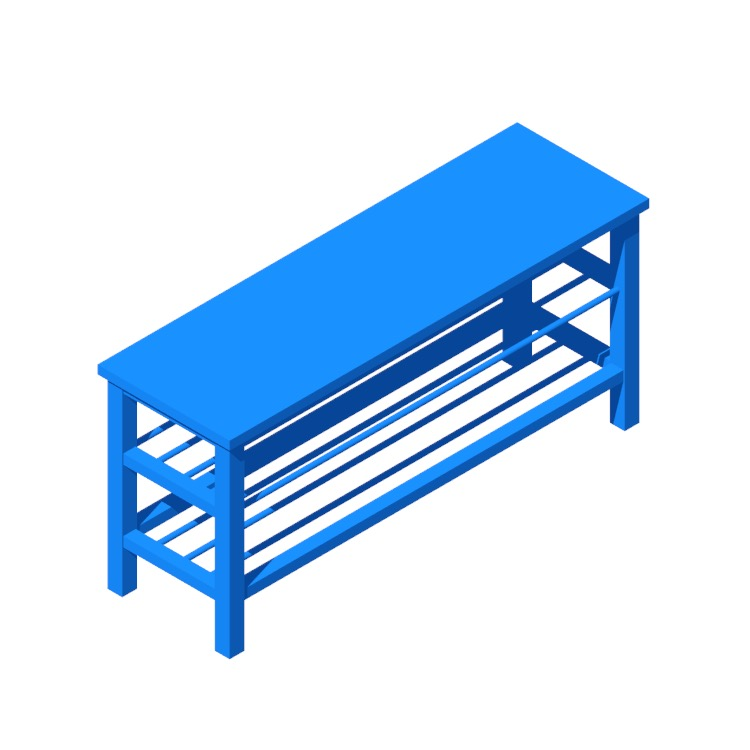 View of the IKEA Tjusig Shoe Storage Bench in 3D available for download