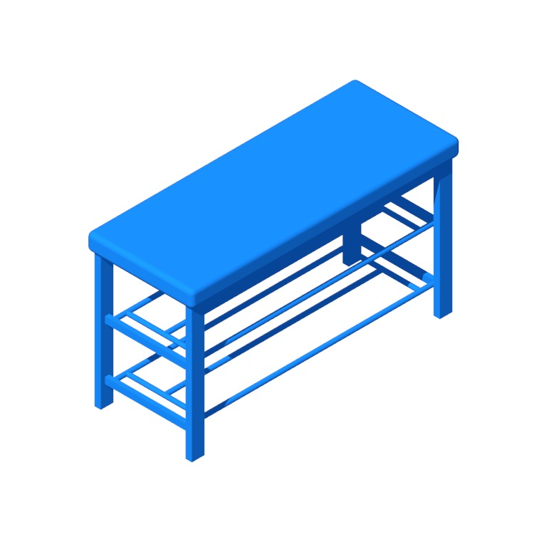 Perspective view of a 3D model of the Kolten Entryway Upholstered Storage Bench