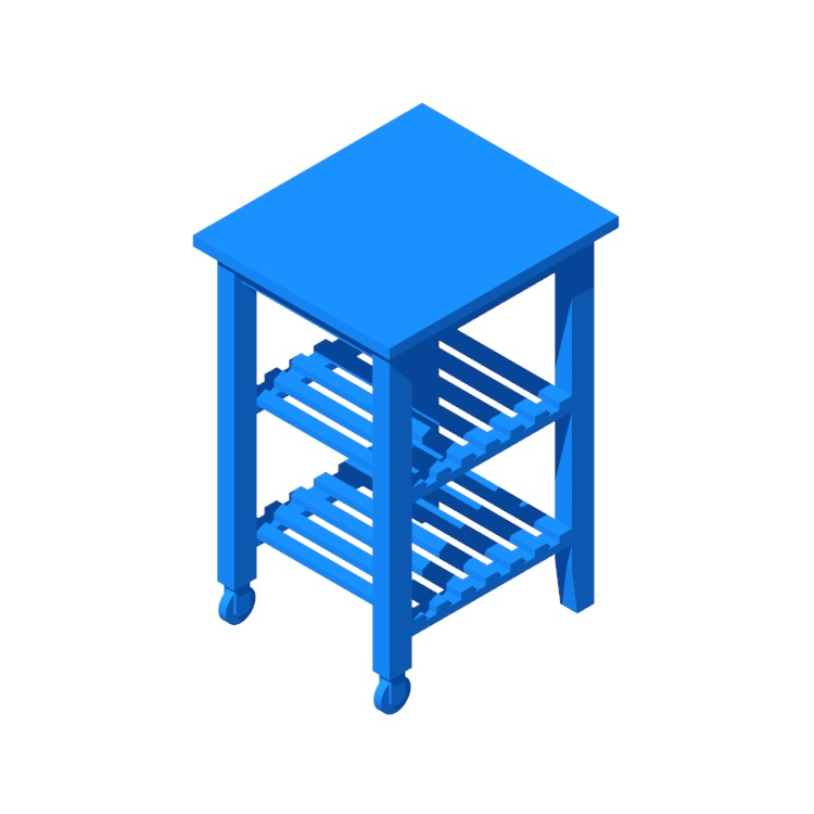 3D model of the IKEA Bekväm Kitchen Cart viewed in perspective