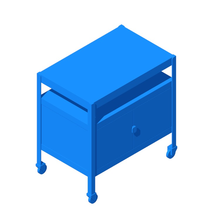 View of the IKEA Bror Cart Closed Storage in 3D available for download