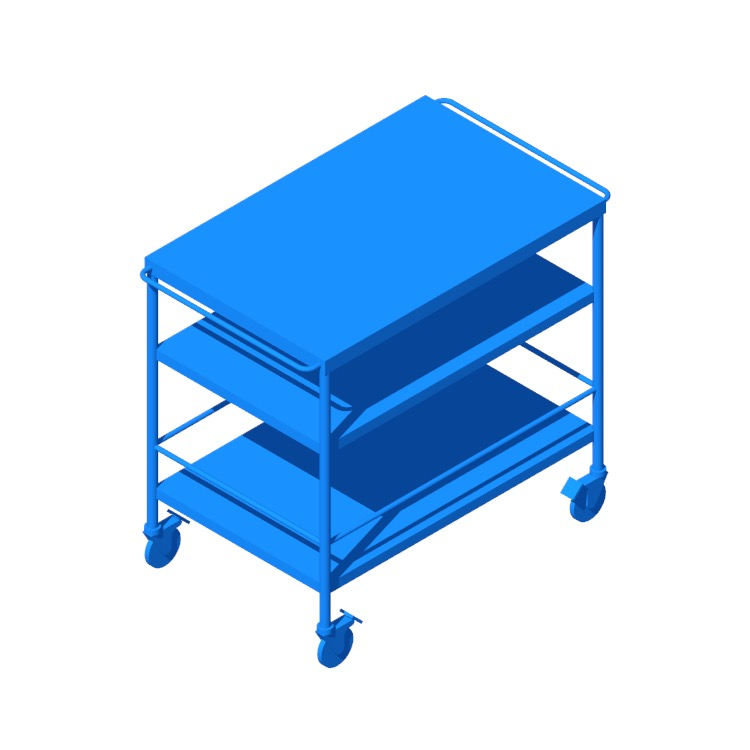 3D model of the IKEA Flytta Kitchen Cart viewed in perspective