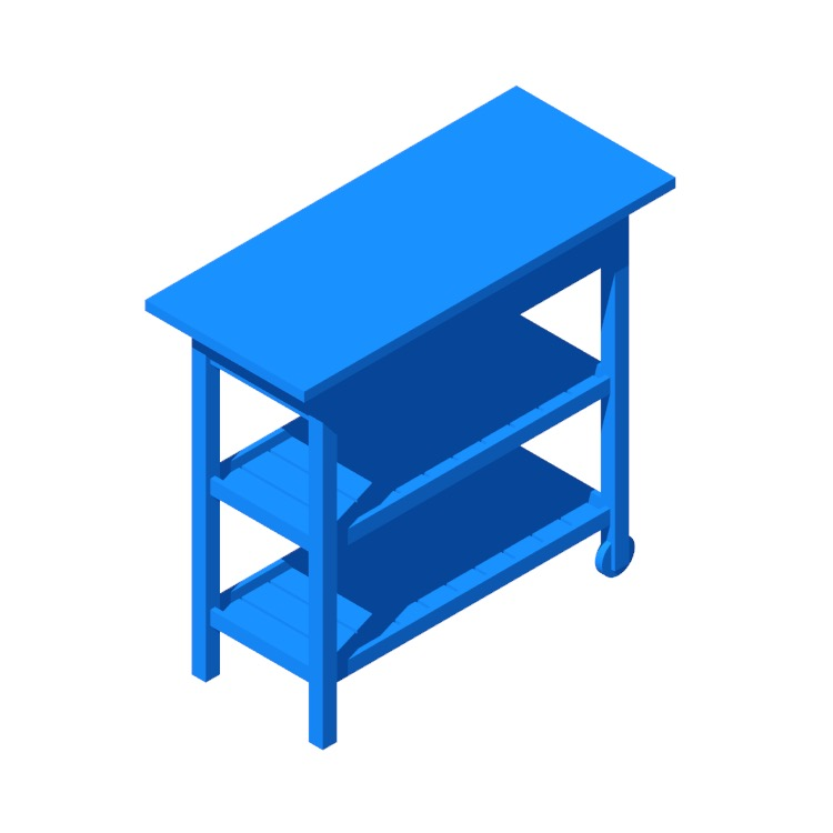 View of the IKEA Förhöja Kitchen Cart in 3D available for download