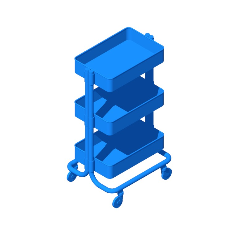 Perspective view of a 3D model of the IKEA Råskog Utility Cart