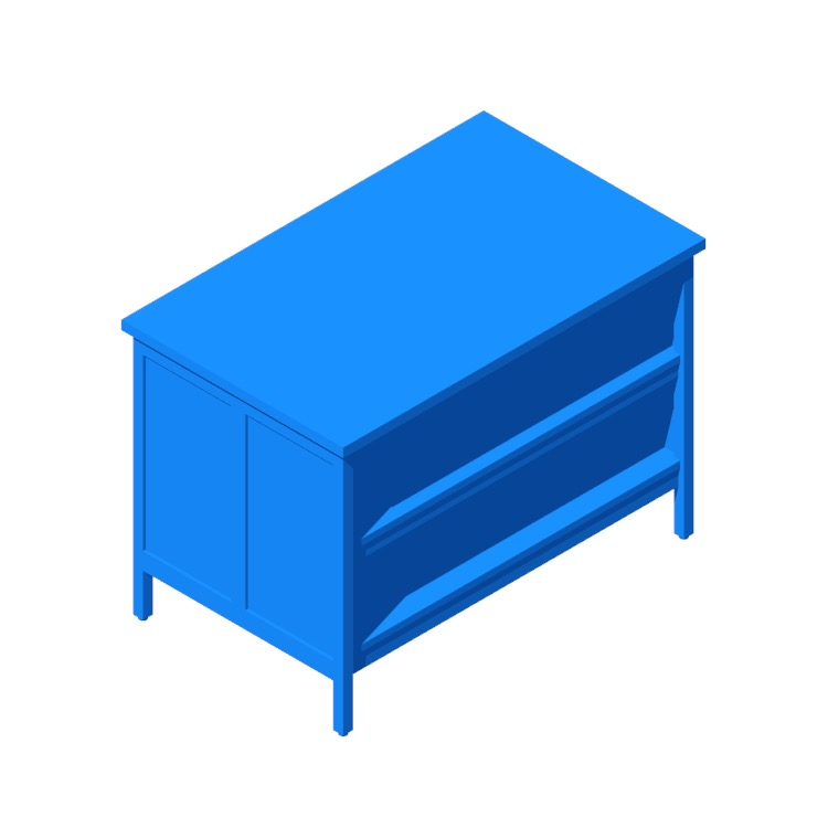Perspective view of a 3D model of the IKEA Tornviken Kitchen Island (Wide)