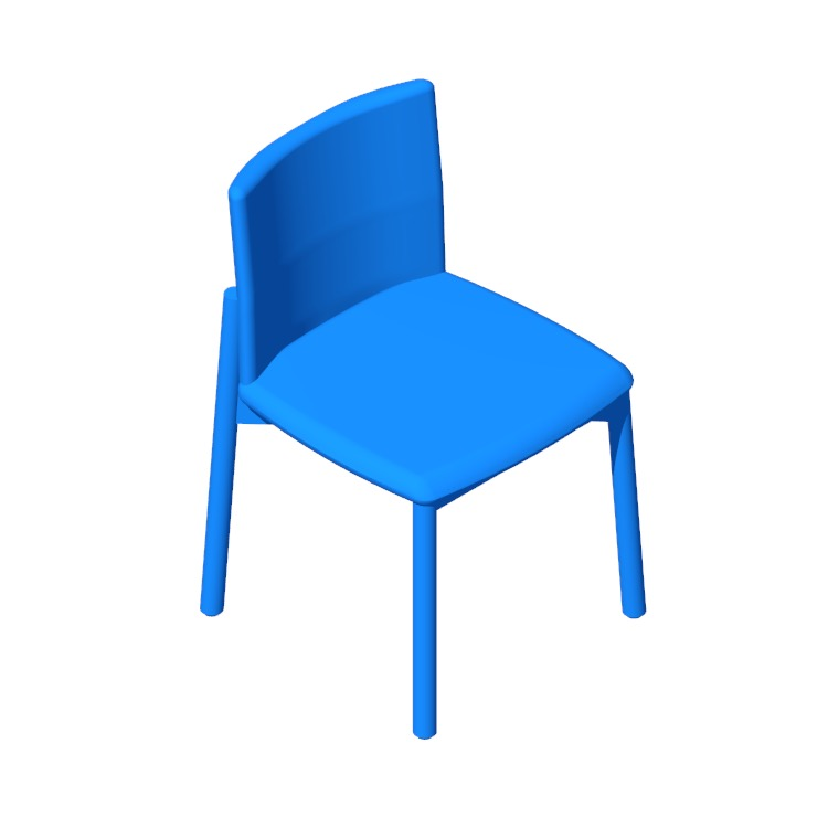 Perspective view of a 3D model of the Contour Chair