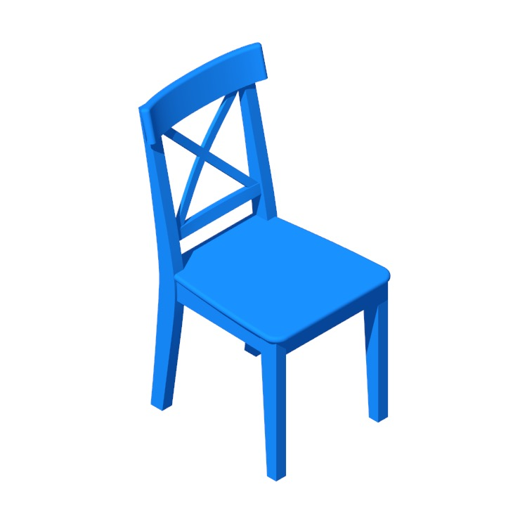 3D model of the IKEA Ingolf Chair viewed in perspective