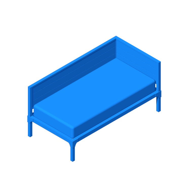 Perspective view of a 3D model of the Viola Twin Daybed