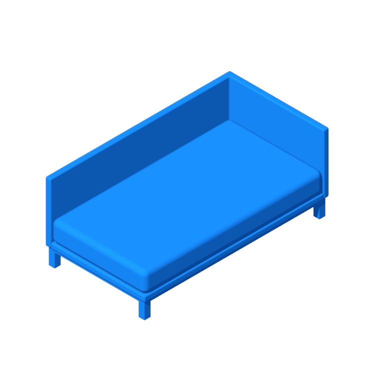 View of the Carwile Mid Century Daybed in 3D available for download