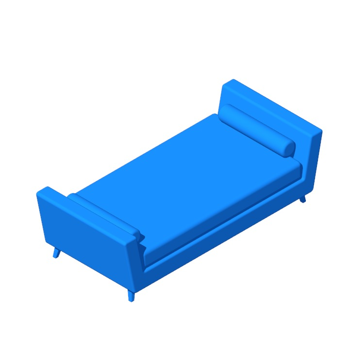 Perspective view of a 3D model of the Cunniff Twin Daybed