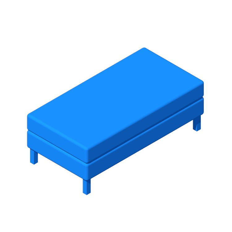 3D model of the IKEA Espevär Divan Bed viewed in perspective