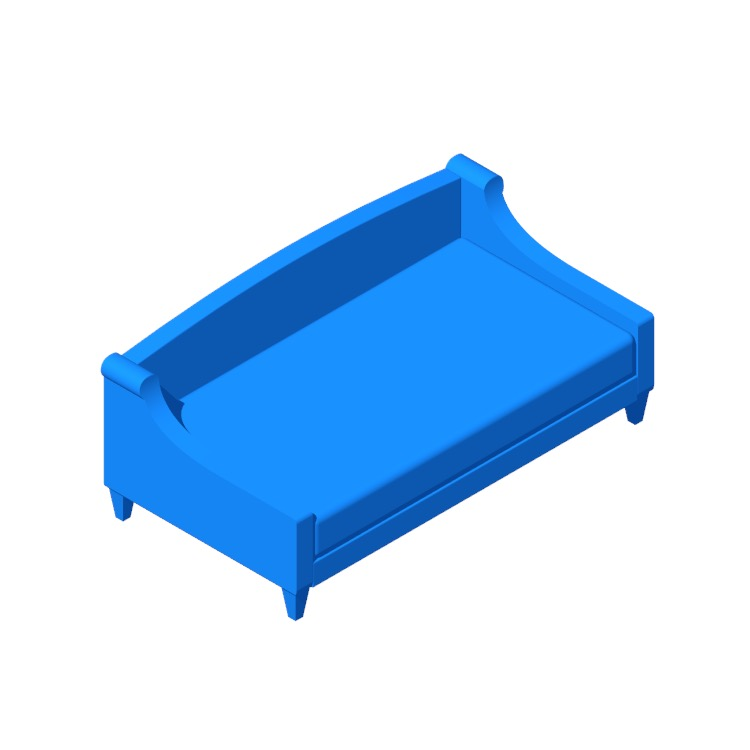 Perspective view of a 3D model of the Maeve Twin Daybed