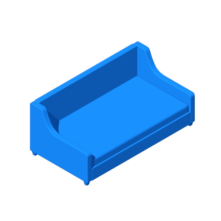 3D model of the Pihu Twin Daybed viewed in perspective