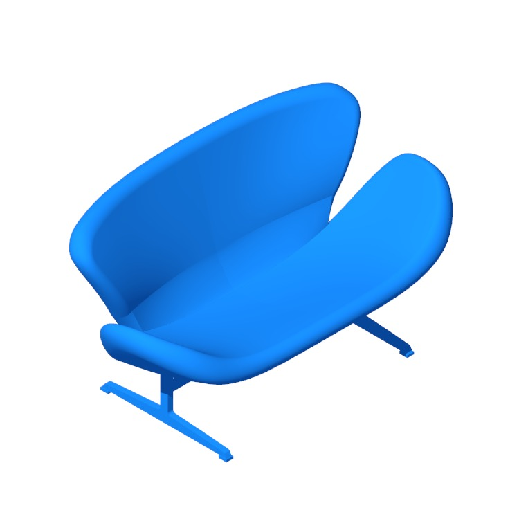 Perspective view of a 3D model of the Swan Sofa