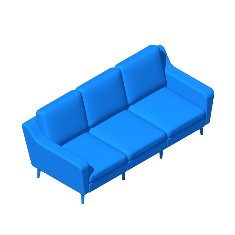 Perspective view of a 3D model of the Burrow Original Sofa