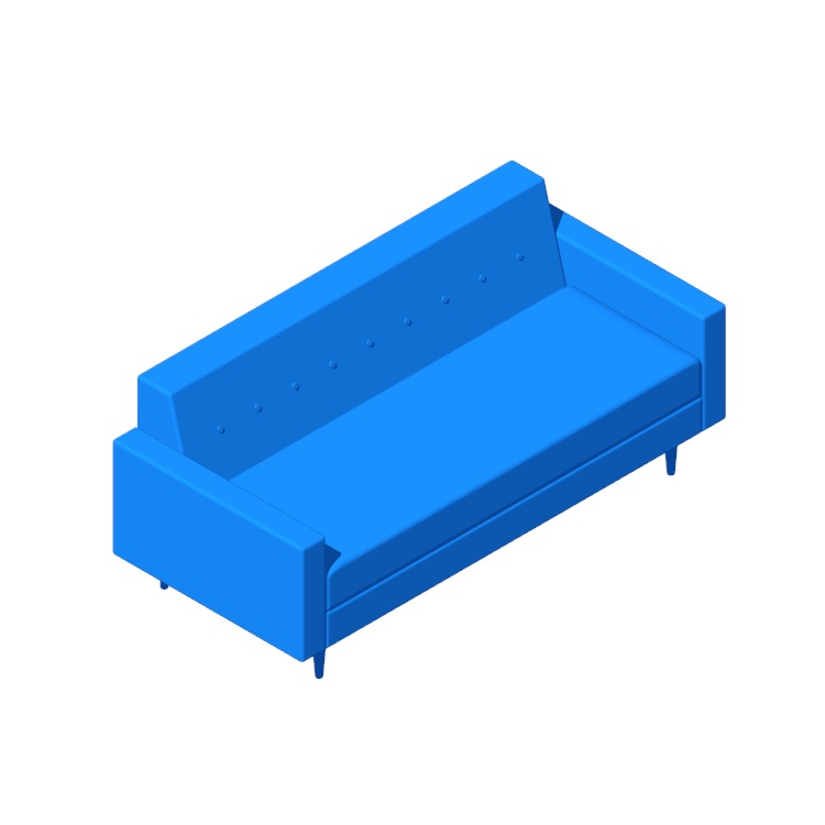 "3D model of the Bantam 73"" Sofa viewed in perspective"