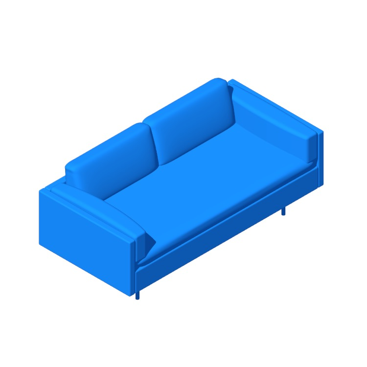 Perspective view of a 3D model of the Bolster Two-Seater Sofa