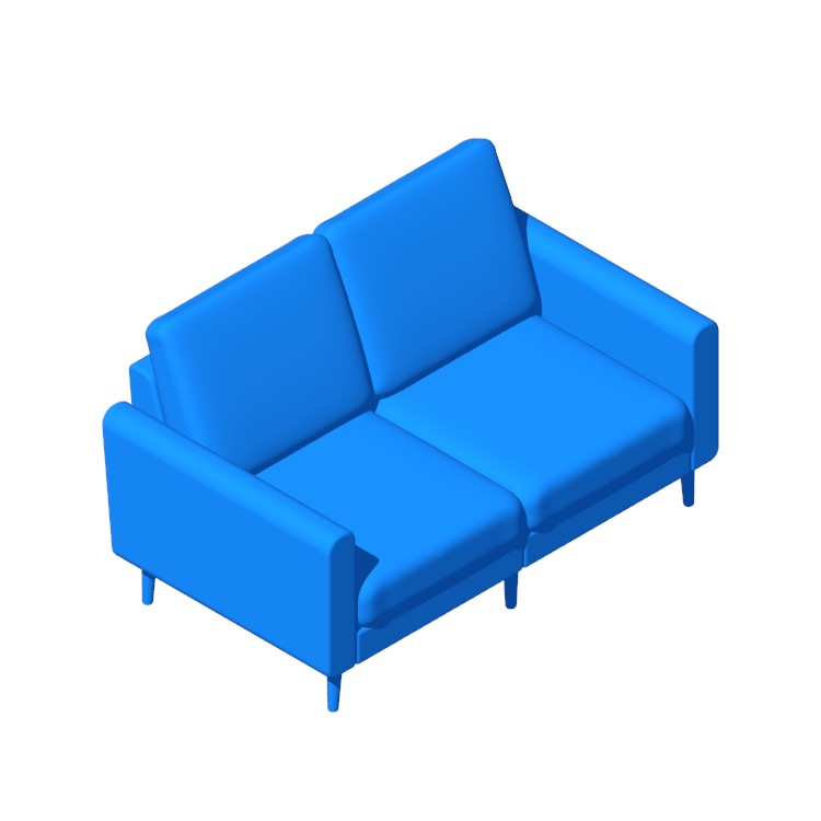 3D model of the Burrow Nomad Loveseat viewed in perspective