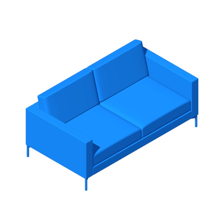 Perspective view of a 3D model of the Divina Two-Seater Sofa